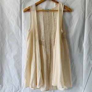 She+Sky Lace Flowing Loose Sleeveless Kimono Vest